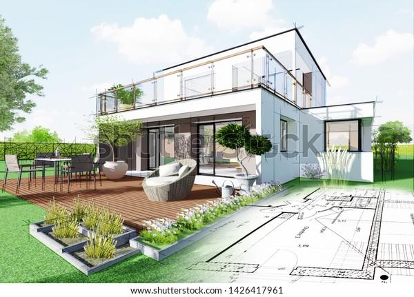 Realistische 3D-Darstellung eines modernen Hauses