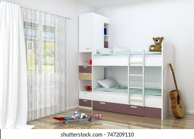 Realistic 3D rendering. Modern kids bedroom furniture design. Bunk bed with decorations. The guitar is by the bed. Skate on the floor. There is also window with curtains with beautiful view. Project.