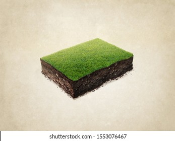realistic 3D rendering soil ground cross section with earth land and green grass. Isolated illustration