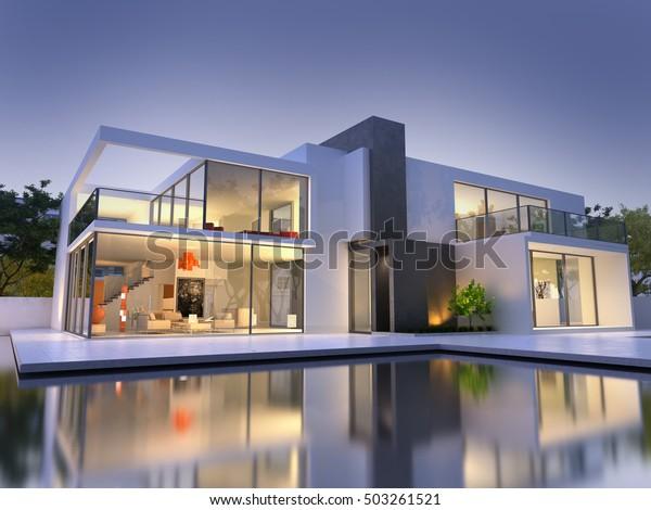 Realistische 3D-Darstellung eines sehr modernen, gehobenen Hauses mit Pool