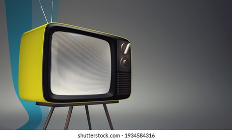 Realistic 3D rendering of a vintage television set . A symbol of TV broadcasting in a modern white backdrop with copy space for text