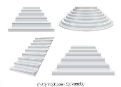 Realistic 3D staircase. Career stairs, ladder to success concept front view isolated on white. Modern business template