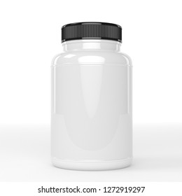 realistic 3d supplement white and black bottle mockup 3d rendering