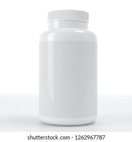 realistic 3d supplement white bottle mockup 3d rendering