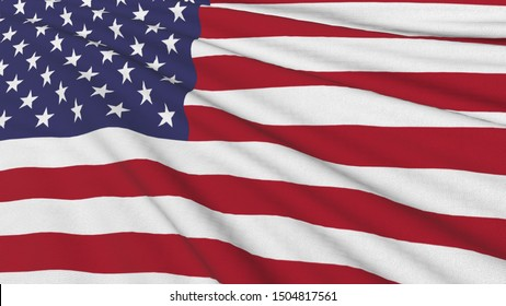 Realistic 3D wavy national flag of United states of america on the wavy silk fabric.Can use for background and texture.