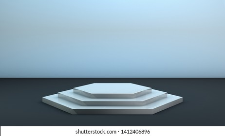 Realistic 3D white and grey hexagon platform for product placement. Podium with 3 steps. Product stand. 3D mockup