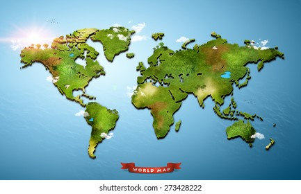Realistic 3D World Map