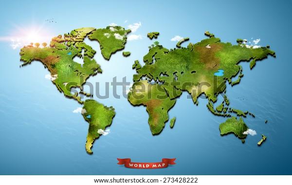 Stock Ilustrace Realisticka 3d Mapa Sveta 273428222