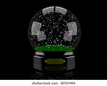 Realistic 3D-illustration of an empty snow-dome against a black background
