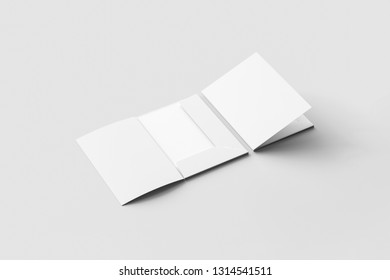 Realistic A4 size single pocket reinforced Folder with business card mock up isolated on soft gray background.Simple Folders with two leaf .3D rendering.