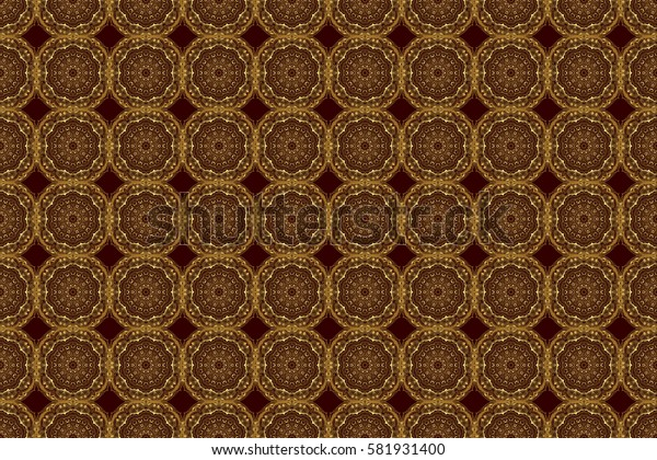 Realistic abstract golden seamless pattern. Raster golden gradient seamless texture. Metallic elements for frame, ribbon, banner, mandalas. Elegant light and shine raster template on brown background.