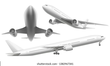 Realistic aircraft. Passenger plane, sky flying aeroplane and airplane in different views. 3d planes transport or landing airliner aerial isolated icons  illustration