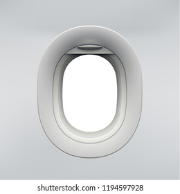 Realistic airplane window, open aircraft illuminator