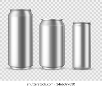 Realistic aluminum cans. Blank metallic can drink beer soda water juice packaging 300 330 500 empty mock up aluminium container template