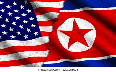 realistic american and north korean waving flags with grunge texture. Confrontation between two countries, threat of nuclear war, rupture of diplomatic relations, politics concept illustration
