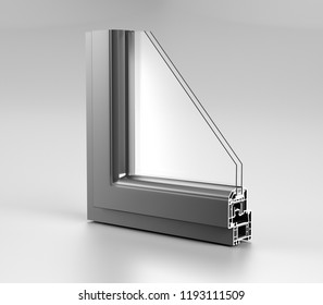 Realistic Angle Cut Off Modern PVC Aluminium Metal Home Window High Quality Grey Profile With Two Glasses Economy Energy Efficient Concept On White Background And Reflection 3D Rendering  Illustration