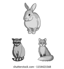 Realistic animals monochrome icons in set collection for design. Wild and domestic animals bitmap symbol stock web illustration.