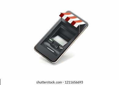 Realistic ATM machine in black mobile phone on white background. Online shopping and paying concept. 3d rendering.