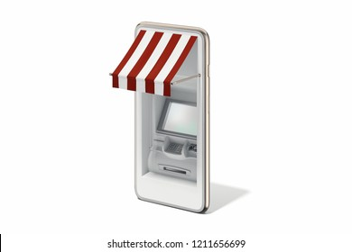 Realistic ATM machine in white mobile phone on white background. Online shopping and paying concept. 3d rendering.