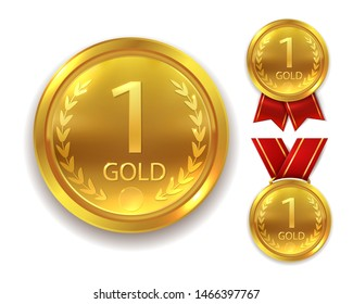 Realistic award medal. Winner gold round medal for first place trophy champion honor best shiny circle ceremony prize with ribbon, set