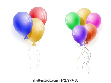 realistic banch of colorfull helium balloons. Concept for promotion, ad, sale, flyer, greeting card. Free space for the text.Three-dimensional illustration.