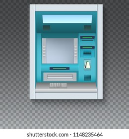 Realistic Bank Cash Machine. ATM - Automated teller machine. Blank screen and carefully drawn details on checkered background. Template of icon for flyers, cover, presentation, 3D illustration.