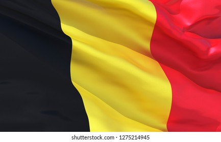Realistic Belgium waving flag, high quality 3d rendering