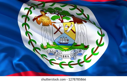 Realistic Belize waving flag, high quality 3d rendering