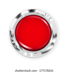 Realistic big red button with metallic border. Raster version.
