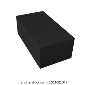 Realistic black blank box isolated on white background. 3d illustration
