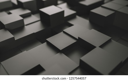 Realistic black geometric cubes, located in space at different - 3D illustration