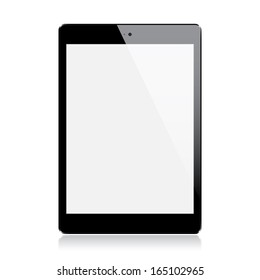 Realistic black mini tablet isolated on white background (raster illustration)