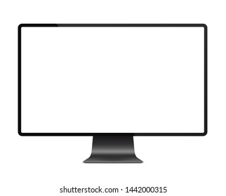 Realistic black modern thin frame display computer monitor illustration.