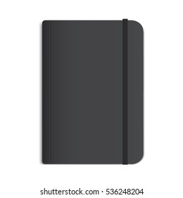 Realistic Black Notebook, Diary or Book