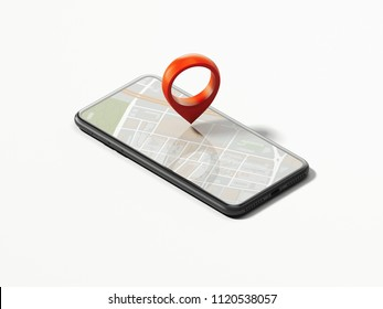 Realistic black phone with opened map on screen and red geotag or map pin on white background, 3d rendering