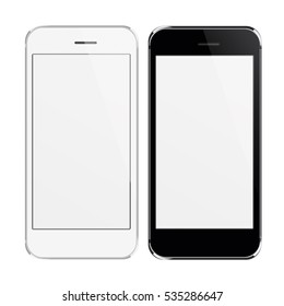 Realistic black and white mobile phones with blank screen isolated.  3D illustration.