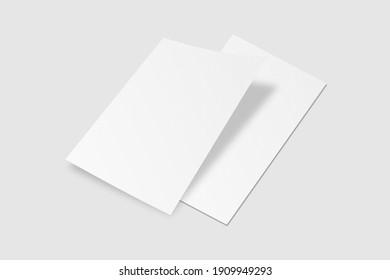 Realistic blank A4 flyer brochure for mockup. Paper or poster illustration. 3D Render.