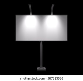 Realistic Blank billboard mock up isolated on black background. Use this photorealistic night mockup for your outdoor design.