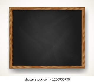 Realistic blank black chalkboard in wooden frame. Background for school or restaurant design, menu. Blackboard illustration with shadow isolated over white.