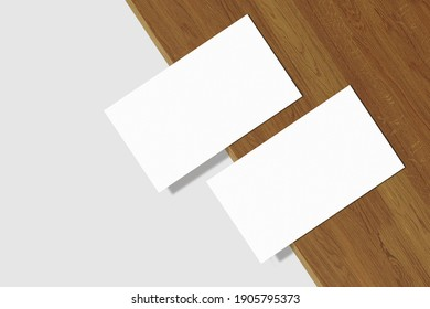Realistic blank business card illustration for mockup. 3D Render.