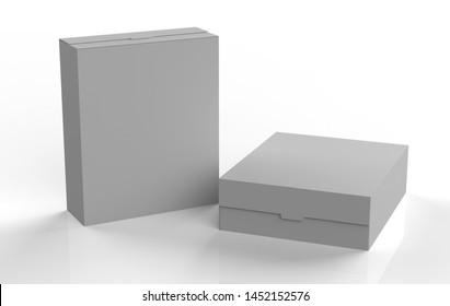 Realistic blank cardboard packaging boxes mock up isolated on white background. Can be use for medicine, food, cosmetic and other. 3d illustration