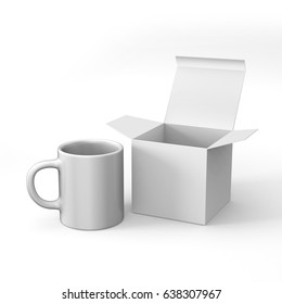 Realistic blank ceramic white coffee cup and mug with box packaging isolated on white background. design template. 3d render illustration