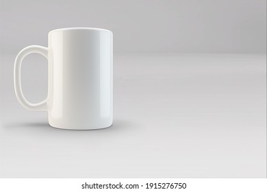 Realistic blank  coffee or tea mug cups with handle. Cup porcelain for tea or coffee template mockup isolated. Realistic teacup for breakfast, 3D illustration