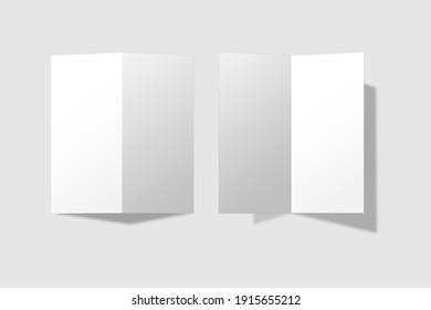Realistic blank DL bifold brochure for mockup. Paper illustration. 3D Render.