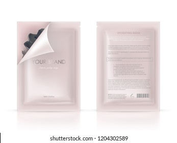 realistic blank package, disposable foil sachet, open and closed, for facial mask or shampoo isolated on background. Cosmetic product for face care, skin treatment. Mockup for packaging design