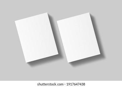 Realistic blank US letter flyer brochure for mockup. Paper or poster illustration. 3D Render.