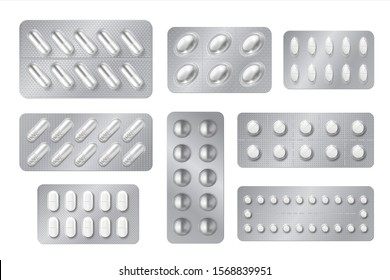 Realistic blisters. Medicine pill and capsule packs, white 3D drugs and vitamins isolated mockup.  pharmacy packaging tablet set