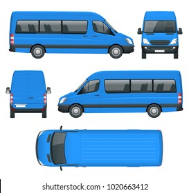Realistic Blue Van template Isolated passenger mini bus for corporate identity and advertising. View from side, front, back and top, illustration