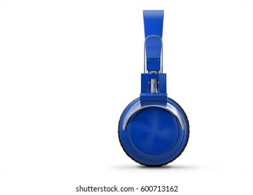 Realistic Blue wireless headphones isolated on white background. Sound music headphone. Side view. Modern earphone. 3d Rendering