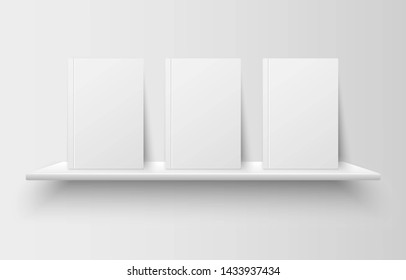 Realistic books with empty blank covers on bookshelf isolated on grey background. Mock up template for your design. Interior concept for library, school, office or home.
